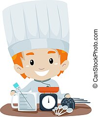 Little Boy Chef with Measuring tools
