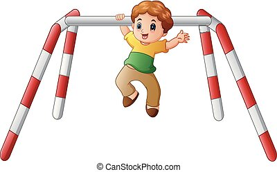 Little boy doing pull ups exercise