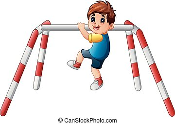 Little boy doing pull ups