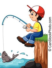 Little boy fishing - Vector illustration of Little boy...