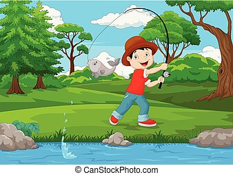 Little boy fishing on the lake - Vector illustration of ...