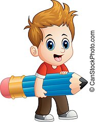 Little boy holding a big pencil