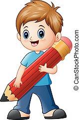 Little boy holding a pencil
