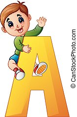 Little boy holding letters A