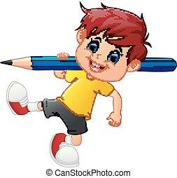 Little boy holding pencil