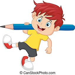 little boy holding pencil - vector illustration of little ...