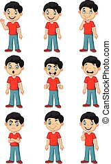 Little boy in various expression - Vector illustration of...