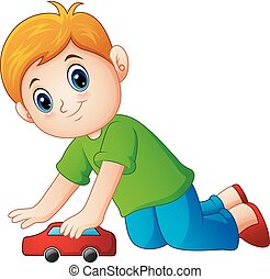 Little boy playing a toy car