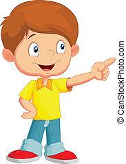 Little boy pointing away - vector illustration of Little boy...