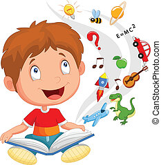 Little boy reading book education c - vector illustration of...