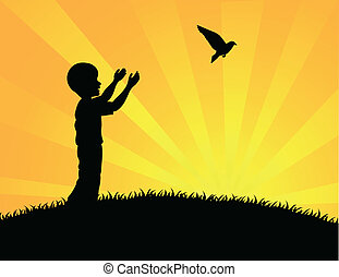 Little boy releasing a white pigeon - Vector illustration of...