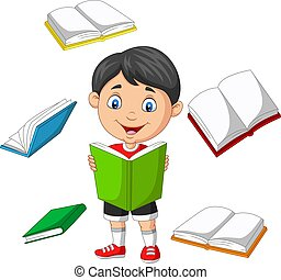 Little boy surrounded by flying books