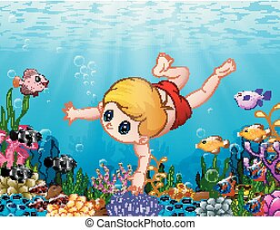 Little boy swimming under the sea