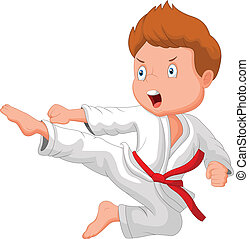 Little boy training karate