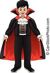 little boy wearing dracula costume
