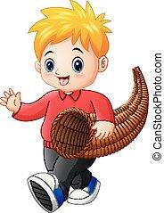 Little boy with horn of plenty - Vector illustration of...