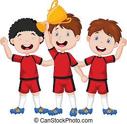 Little boys cartoon celebrate his t - Vector illustration of...