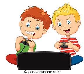 Little boys cartoon playing video g - Vector illustration of...