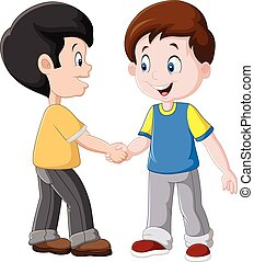 Little Boys Shaking Hands - Vector illustration of Little...