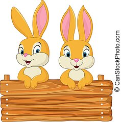 Vector illustration of Little bunny holding wooden sign