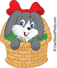 Little cartoon rabbit sitting in a