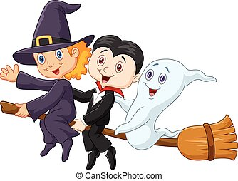 Vector illustration of Little children and ghost fly with broom