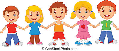 Vector illustration of Little children cartoon holding hands