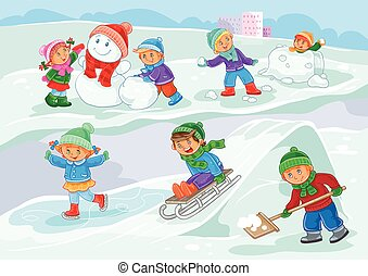 Vector illustration of little children playing outdoors in...