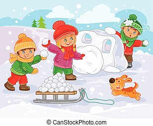 Vector illustration of little children playing outdoors in winter