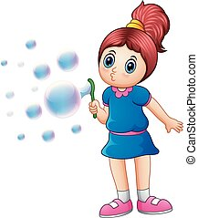 Little girl blowing bubbles - Vector illustration of Little...