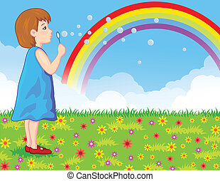 little girl blowing soap bubbles - Vector illustration of ...