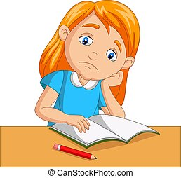 Little girl bored studying homework - Vector illustration of...