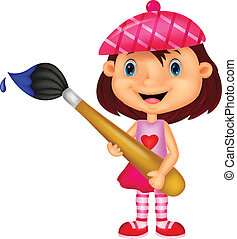 Little girl cartoon is painting wit - Vector illustration of...