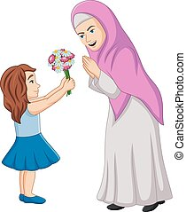 Little girl giving a bunch of flowers to her mother