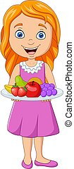 Vector illustration of Little girl holding a dish with fresh fruits