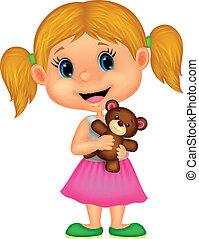 Little girl holding bear