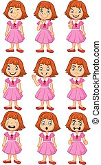 Vector illustration of Little girl in various expression isolated on white background