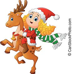 vector illustration of little girl ride deer on christmas