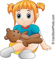 Little girl sit with holding teddy bear