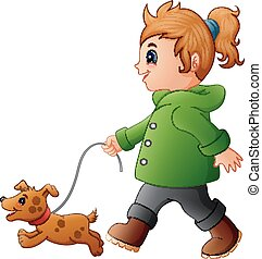 Little Girl walking with his dog