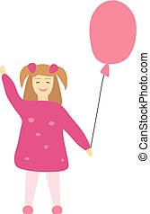 Vector illustration of  little girl with a pink balloon. Little