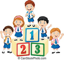 Little happy children with number block - Vector...
