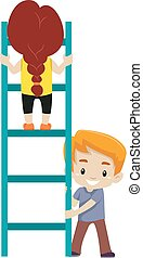 Vector Illustration of Little kid Helping each other to climb up the Ladder