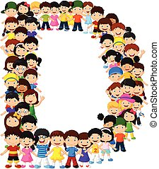 Little kids form alphabet D