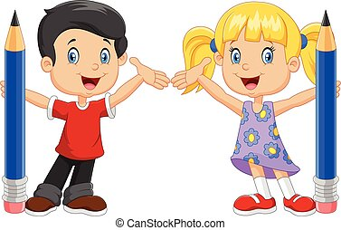 Little kids holding pencil isolated - Vector illustration of...