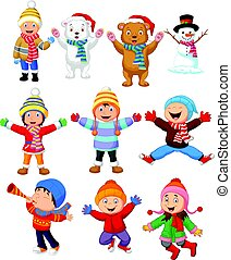 Little kids wearing winter clothes