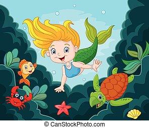 Little Mermaid with sea animals