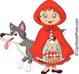 Little Red Riding Hood meeting - Vector illustration of...