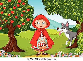 Vector illustration of Little Red Riding Hood meeting with a wolf