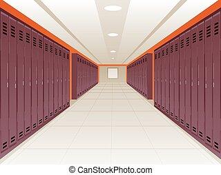 Locker School Hallway - Vector Illustration of Locker School...